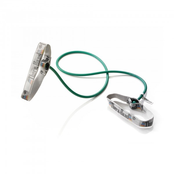 Produktbild TheraBand Bodytrainer Tubing mit flexiblen Griffen, stark / grün